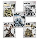 Тетрадь, 48 л., HATBER, клетка, металлизированный картон, «Wild Animals» («Животные»)