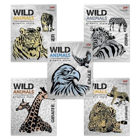 """Тетрадь, 48 л., HATBER, клетка, металлизированный картон, """"Wild Animals"""" (""""Животные""""), 48Т5мтВ1"""