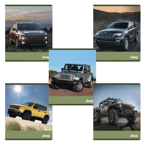 Тетрадь 48 л., ERICH KRAUSE, клетка, обложка мелованный картон, «Jeep»