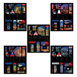 Тетрадь 48 л., HATBER, клетка, выборочный лак, «Megacity» («Города)», 48Т5вмВ1