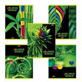 Тетрадь 96 л., HATBER, клетка, выборочный лак, «Разноцветный мир», 96Т5вмВ1
