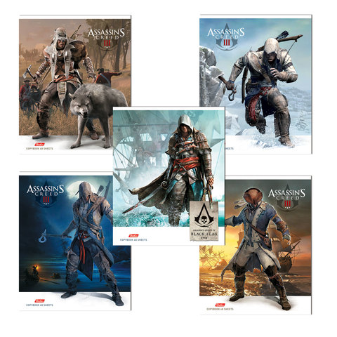 """Тетрадь 48 л., HATBER, клетка, обложка мелованный картон, """"Assassin's Creed"""", 48Т5В1"""