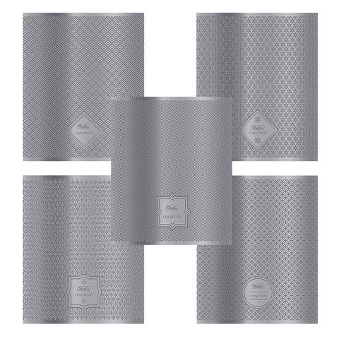 """Тетрадь 48 л., HATBER, клетка, металлизированный картон с фактурным тиснением, """"Серебряные узоры"""", 48Т5тмтВ1"""