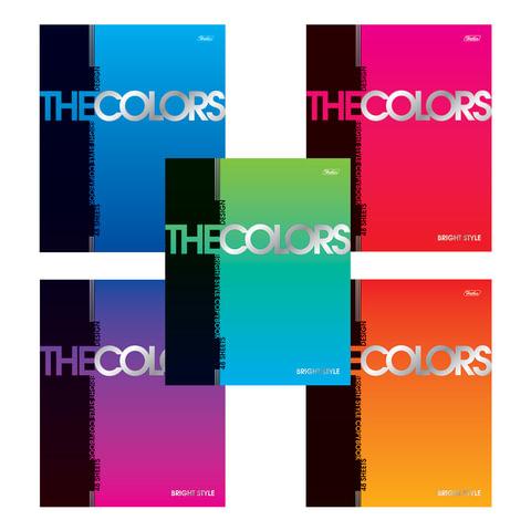 """Тетрадь 48 л., HATBER, клетка, металлизированный картон, """"The Colors"""", 48Т5мтВ1"""