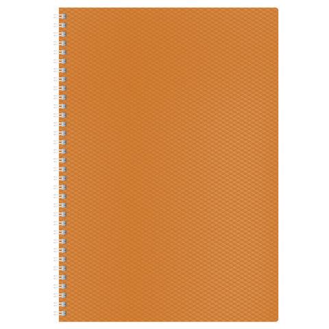 """Тетрадь 80 л., А4, HATBER, гребень, клетка, пластиковая обложка, """"DIAMOND-оранжевая"""", 80Т4B1гр 02035"""