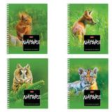 Тетрадь 48 л., HATBER, гребень, клетка, обложка мелованный картон, «Wild Nature», 48Т5В1гр
