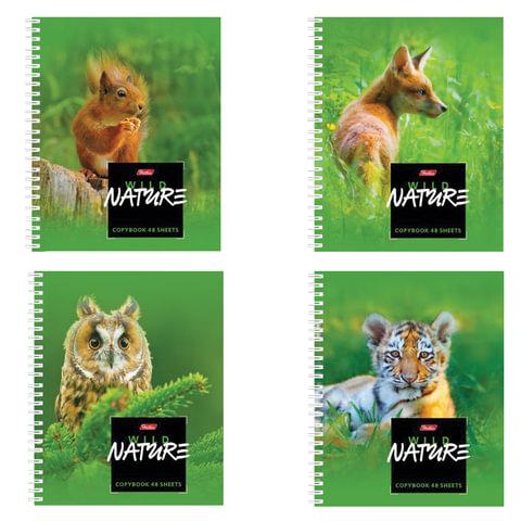 """Тетрадь 48 л., HATBER, гребень, клетка, обложка мелованный картон, """"Wild Nature"""", 48Т5В1гр"""