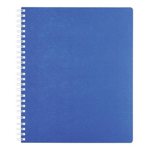 """Тетрадь 80 л., HATBER, гребень, клетка, пластиковая обложка, """"WOOD-голубая"""", 80Т5B1гр 02225"""