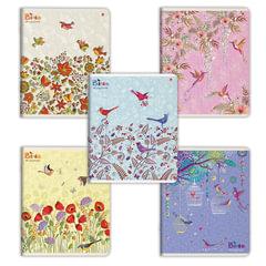 Тетрадь 48 листов, АЛЬТ, клетка, конгрев, фольга, гибридный лак, «Праздник. Птички»