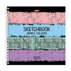 Скетчбук (тетрадь для эскизов), белая бумага, 170×170 мм, 120 г/<wbr/>м<sup>2</sup>, 80 л., гребень, «Simply Colours», A255759
