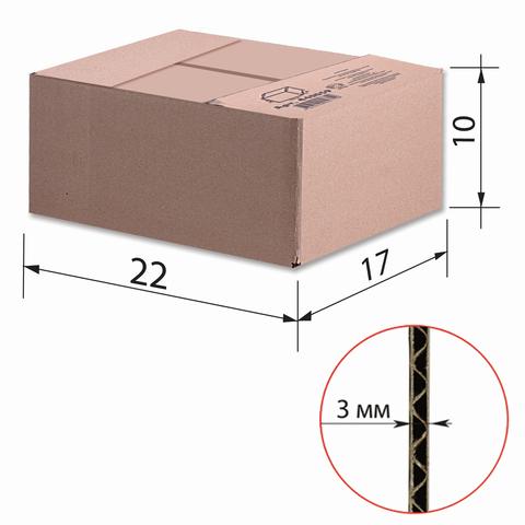 Гофроящик, длина 220 х ширина 170 х высота 100 мм, марка Т22, профиль В