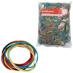 Резинки для денег ERICH KRAUSE (натуральный каучук!), цветные, 1000 г, диаметр 60, 80, 100 мм