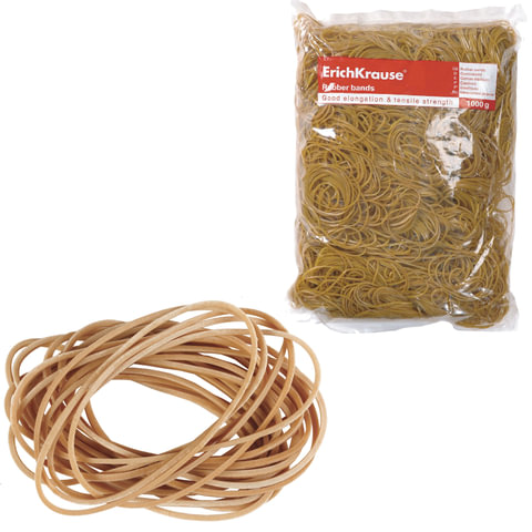 Резинки для денег ERICH KRAUSE (натуральный каучук!), натуральный цвет, 1000 г, диаметр 60, 80, 100 мм
