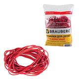 Резинки для денег BRAUBERG (БРАУБЕРГ), красные, натуральный каучук, 1000 г