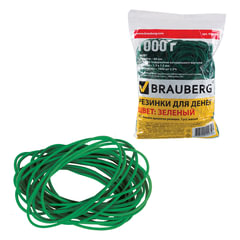 Резинки для денег BRAUBERG, зеленые, натуральный каучук, 1000 г