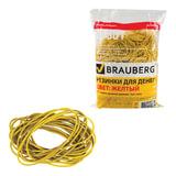 Резинки для денег BRAUBERG (БРАУБЕРГ), желтые, натуральный каучук, 1000 г