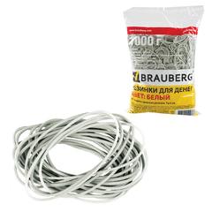 Резинки для денег BRAUBERG, белые, натуральный каучук, 1000 г