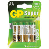 Батарейки GP (Джи-Пи) Alkaline AA (LR06, 15А), комплект 4 шт., в блистере, 1.5 В