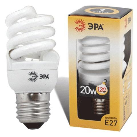 Лампа люминесцентная энергосберегающая ЭРА, суперкомпактная, 20 (120) Вт, цоколь E27, 10000 ч.