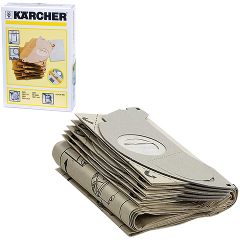 Пылесборники KARCHER, комплект 5 шт., бумажные, +1 микрофильтр, для пылесоса SE 5.100/<wbr/>3001