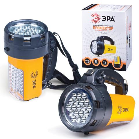 Фонарь ЭРА прожектор, аккумуляторный, 19+24 белых светодиода, ЗУ от 220 и 12 В, ремень