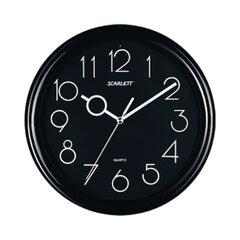 Часы настенные SCARLETT SC-09B круг, черные, черная рамка, 25,5×25,5×4,6 см