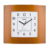 Часы настенные SCARLETT SC-55QP прямоугольник, белые, коричн. рамка, плавный ход, 29,8×26,4×4,5 см