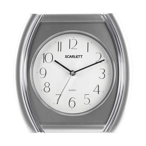 Часы настенные SCARLETT SC-55QU четырехугольник, белые, серебр. рамка, плавный ход, 28,6×28,6×4,0 см