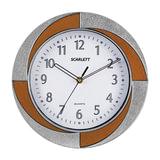 Часы настенные SCARLETT SC-55RA круг, белые, бело-коричневая рамка, плавный ход, 28×28×4,4 см