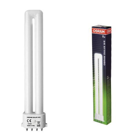 Лампа люминесцентная OSRAM DULUX S/<wbr/>E 11W/<wbr/>21-840, 11 Вт, U-образная, холодный белый свет, цоколь 2G7