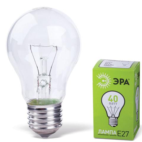 Лампа накаливания ЭРА, 40 Вт, грушевидная, прозрачная, колба d=55 мм, цоколь Е27