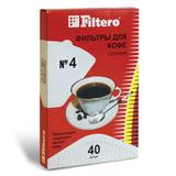 Фильтр FILTERO ПРЕМИУМ №4 для кофеварок, бумажный, отбеленный, 40 штук