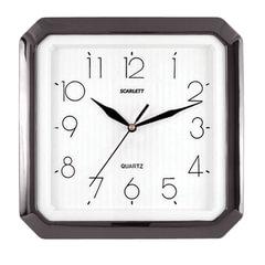 Часы настенные SCARLETT SC-52G восьмигранник, белые, черная рамка, 27,8×27,6×3,7 см