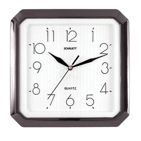 Часы настенные SCARLETT SC-52G восьмигранник, белые, черная рамка, 27,8х27,6х3,7 см