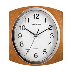 Часы настенные SCARLETT SC-55RB квадрат, белые, коричневая рамка, плавный ход, 27,3×24,9×4,3 см