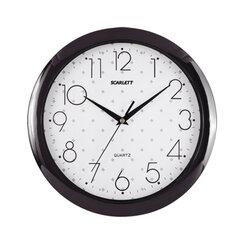 Часы настенные SCARLETT SC-45Q круг, белые с рисунком, черная рамка, 28,8×28,8×3,7 см