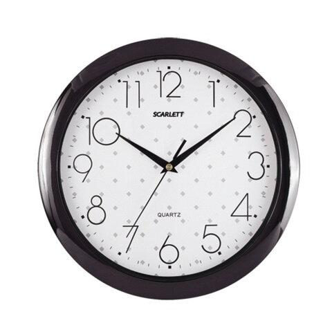 Часы настенные SCARLETT SC-45Q круг, белые с рисунком, черная рамка, 28,8х28,8х3,7 см