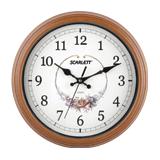 Часы настенные SCARLETT SC-25Q круг, белые с рисунком, коричневая рамка, плавный ход, 30,0×30,0×5 см