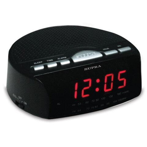 Часы-радиобудильник SUPRA SA-26FM, ЖК-дисплей, AM/<wbr/>FM-диапазон, черный/<wbr/>красный
