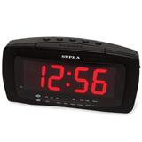 Часы-радиобудильник SUPRA SA-28FM, ЖК-дисплей, АМ/<wbr/>FM-диапазон, черный/<wbr/>красный