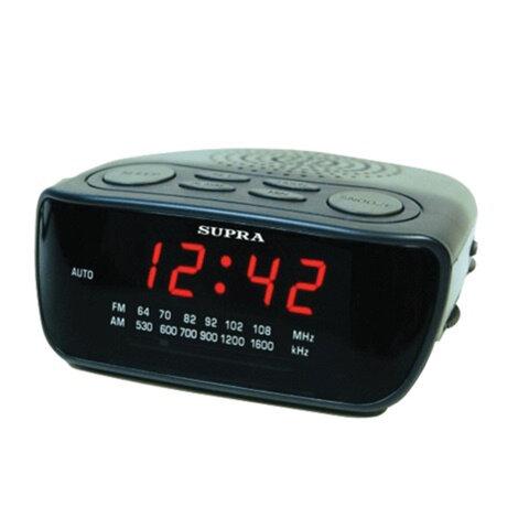 Часы-радиобудильник SUPRA SA-36FM, ЖК-дисплей, AM/<wbr/>FM-диапазон, черный/<wbr/>красный