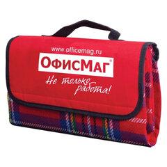 Плед для пикника ОФИСМАГ, 120×140 см, водоотталкивающий нижний слой, «красная шотландка»