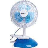 Вентилятор настольный SONNEN TF-15W-15, d=15 см, 15 Вт, клипса + подставка, белый/<wbr/>синий