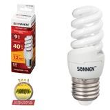 Лампа люминесцентная энергосберегающая SONNEN Т2, 9 (40) Вт, цоколь E27, 12000 ч., теплый свет, премиум