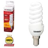 Лампа люминесцентная энергосберегающая SONNEN Т2, 11 (60) Вт, цоколь E14, 12000 ч., теплый свет, премиум
