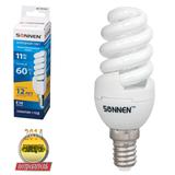 Лампа люминесцентная энергосберегающая SONNEN Т2, 11 (60) Вт, цоколь E14, 12000 ч., холодный свет, премиум