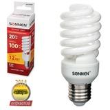 Лампа люминесцентная энергосберегающая SONNEN Т2, 20 (100) Вт, цоколь E27, 12000 ч., теплый свет, премиум