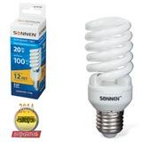Лампа люминесцентная энергосберегающая SONNEN Т2, 20 (100) Вт, цоколь E27, 12000 ч., холодный свет, премиум