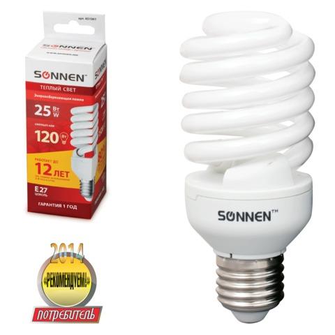 Лампа люминесцентная энергосберегающая SONNEN Т2, 25 (120) Вт, цоколь E27, 12000 ч., теплый свет, премиум