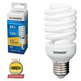 Лампа люминесцентная энергосберегающая SONNEN Т2, 25 (120) Вт, цоколь E27, 12000 ч., холодный свет, премиум